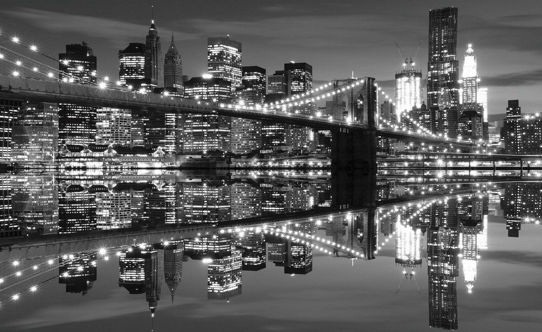 Fototapet: Brooklyn Bridge alb-negru (3) - 254x368 cm