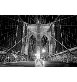 Fototapet: Brooklyn Bridge (detaliu alb-negru) - 184x254 cm