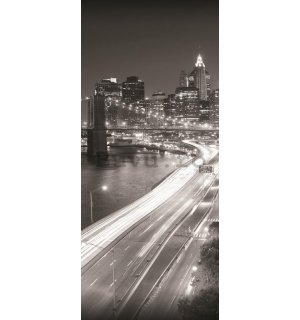 Fototapet: Brooklyn Bridge alb-negru (1) - 211x91 cm