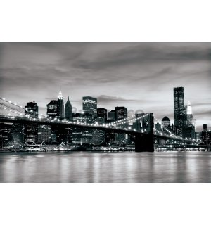 Fototapet: Brooklyn Bridge (alb-negru) - 254x368 cm