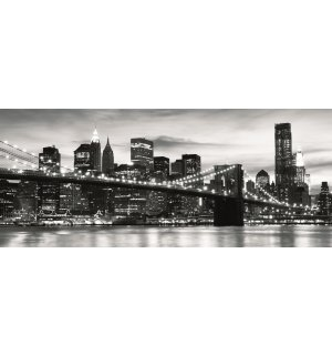 Fototapet: Brooklyn Bridge (alb-negru) - 104x250 cm