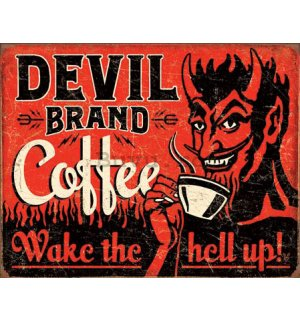 Placă metalică - Devil Brand Coffee