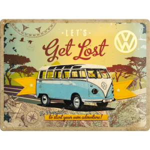 Placă metalică: VW Let's Get Lost - 30x40 cm