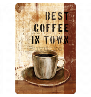 Placă metalică: Best Coffee in Town - 30x20 cm