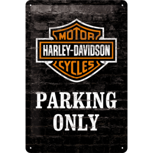 Placă metalică: Harley-Davidson Parking Only - 30x20 cm