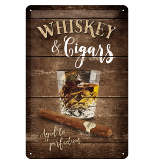Placă metalică - Whiskey & Cigars