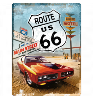 Placă metalică - Route 66 (red car)