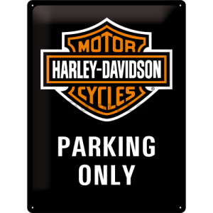 Placă metalică: Harley-Davidson Parking Only - 40x30 cm