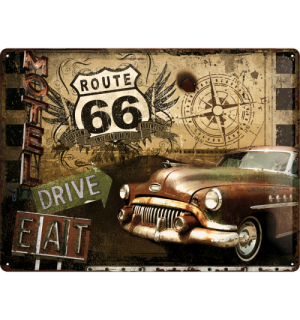 Placă metalică - Route 66 (Drive, Eat)