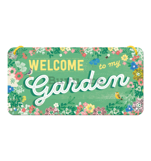 Placa metalica cu snur - Welcome to my Gargen