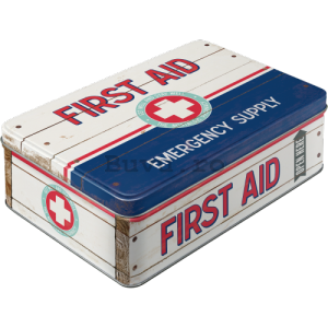 Cutie metalică plată - First Aid (Emergency Supply)