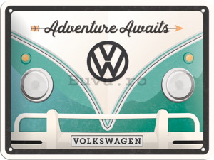 Placă metalică: Volkswagen Adventure Awaits - 15x20 cm