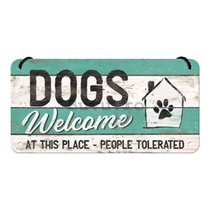 Placa metalica cu snur: Dogs Welcome - 10x20 cm