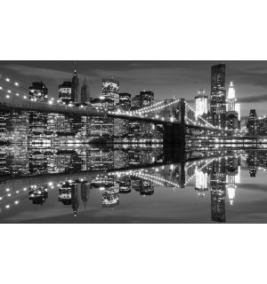 Tablou canvas: Brooklyn Bridge alb-negru (3) - 75x100 cm