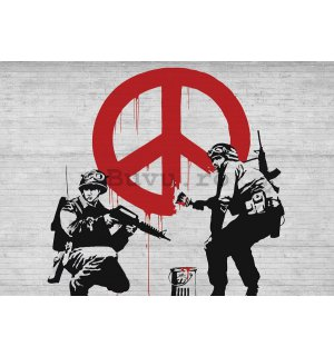 Tablou canvas: Make Peace, not War (graffiti) - 75x100 cm