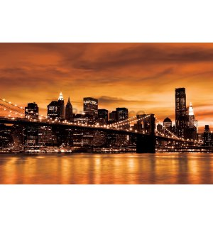 Tablou canvas: Brooklyn Bridge  (portocaliu) - 75x100 cm