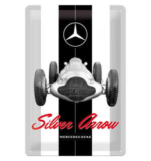 Placă metalică: Mercedes-Benz Silver Arrow - 30x20 cm