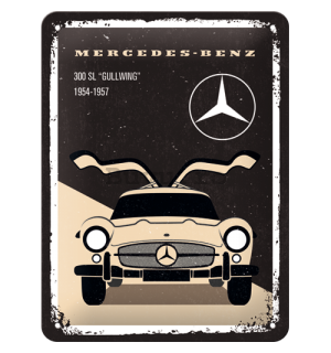 "Placă metalică: Mercedes-Benz (300 SL ""Gullwing"") - 20x15 cm"