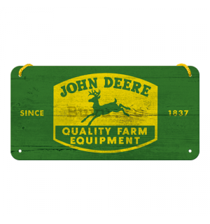 Placa metalica cu snur: John Deere (Quality Farm Equipment) - 10x20 cm