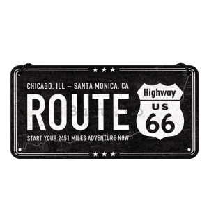 Placa metalica cu snur: Route 66 (Chicago - Santa Monica) - 10x20 cm