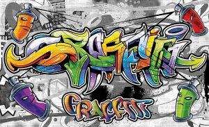 Fototapet vlies: Grafitti color - 254x368 cm