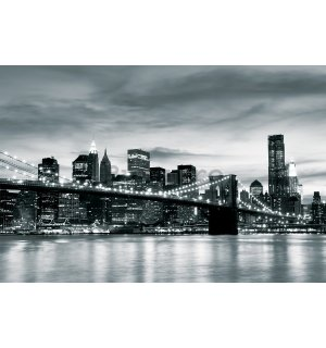 Fototapet vlies: Brooklyn Bridge (alb-negru) - 184x254 cm