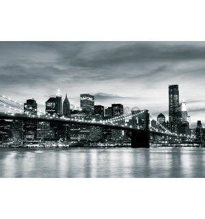 Fototapet vlies: Brooklyn Bridge (alb-negru) - 254x368 cm