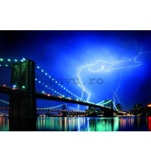 Poster - Brooklyn Bridge Lightning