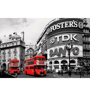 Poster - Piccadilly Circus london red buses