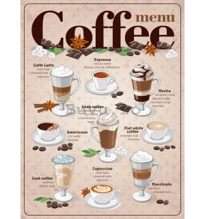 Placă metalică - Coffee menu