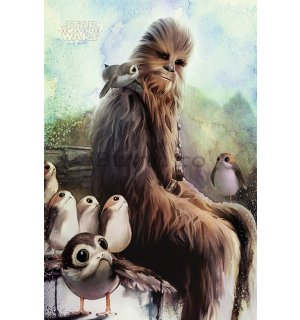 Poster - Star Wars The Last Jedi (Chewbacca & Porgs)