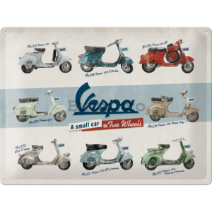 Placă metalică: Vespa (A Small Car on Two Wheels) - 40x30 cm