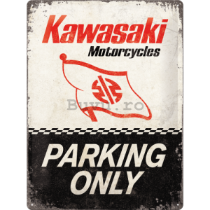 Placă metalică: Kawasaki Parking Only - 40x30 cm