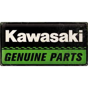 Placă metalică: Kawasaki Genuine Parts - 25x50 cm