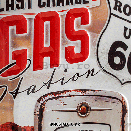 Placă metalică: Route 66 (Gas Station) - 30x20 cm