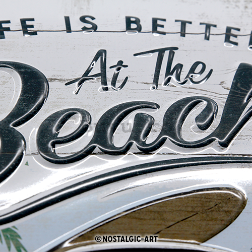 Placă metalică: VW Life is Better at the Beach - 30x20 cm