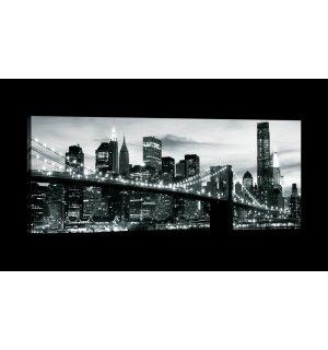 Tablou canvas: Brooklyn Bridge alb-negru (4) - 145x45 cm