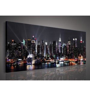 Tablou canvas: New York nocturn (2) - 145x45 cm