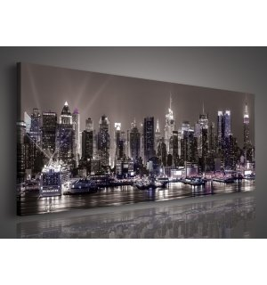 Tablou canvas: New York nocturn - 145x45 cm