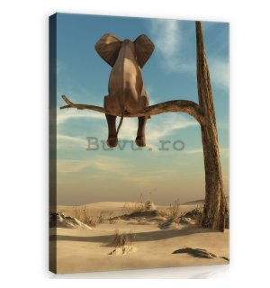 Tablou canvas: Elefant pe copac - 100x75 cm