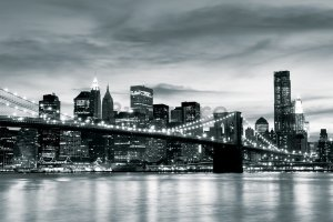 Fototapet: Brooklyn Bridge (alb-negru) - 104x152,5 cm