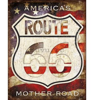 Placă metalică - Route 66 (America's Mother Road)