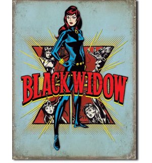 Placă metalică - Black Widow (Retro)