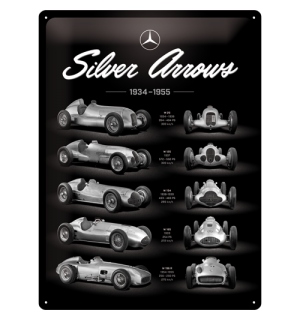 Placă metalică: Mercedes-Benz (Silver Arrows Chart) - 40x30 cm