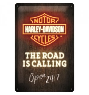 Placă metalică: Harley-Davidson (The Road is Calling) - 30x20 cm