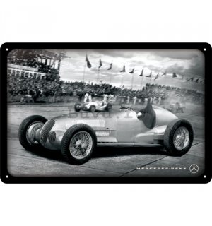 Placă metalică: Mercedes-Benz Silver Arrow Racing - 20x30 cm