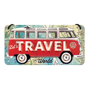 Placa metalica cu snur: VW Bulli (Let's Travel The World) - 10x20 cm