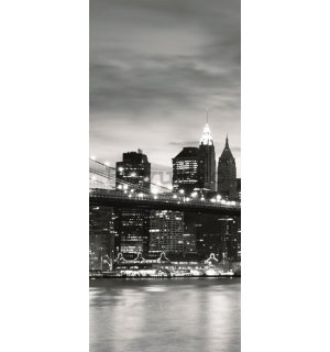 Fototapet: Brooklyn Bridge (alb-negru) - 211x91 cm