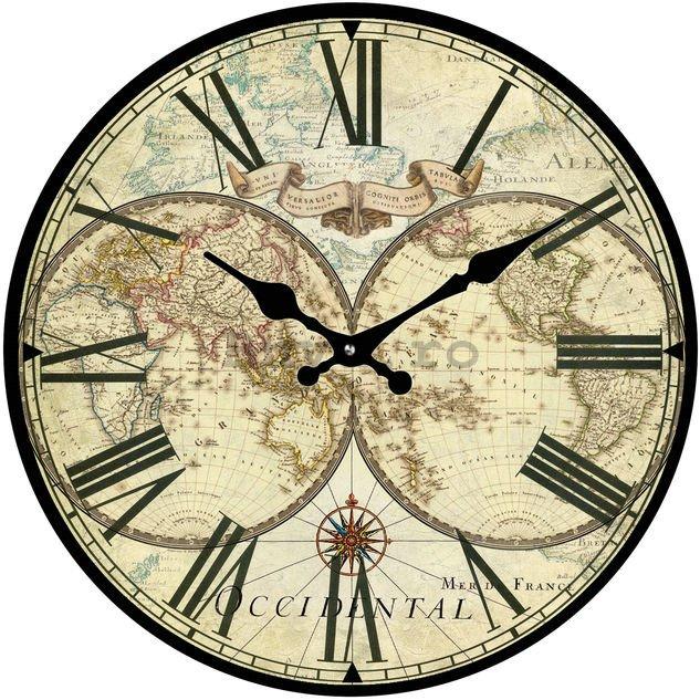 Ceas de perete fabricat din sticlă - Harta istorică (2)