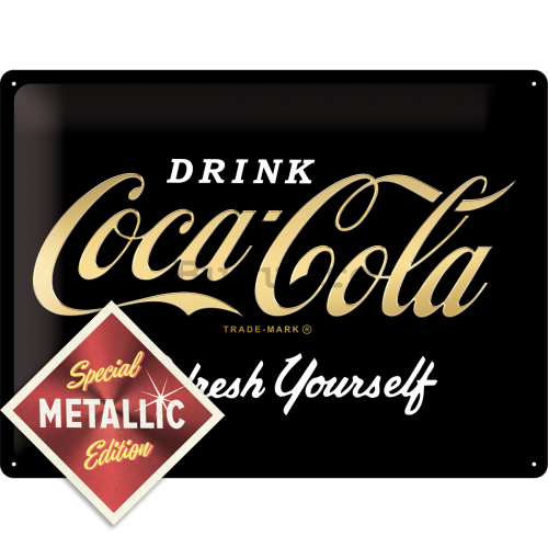 Placă metalică: Coca-Cola Refresh Yourself (Special Black Edition) - 30x40 cm
